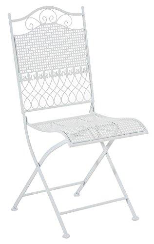 Chaise de jardin en fer coloris blanc - 91 x 41 x 50 cm -PEGANE-