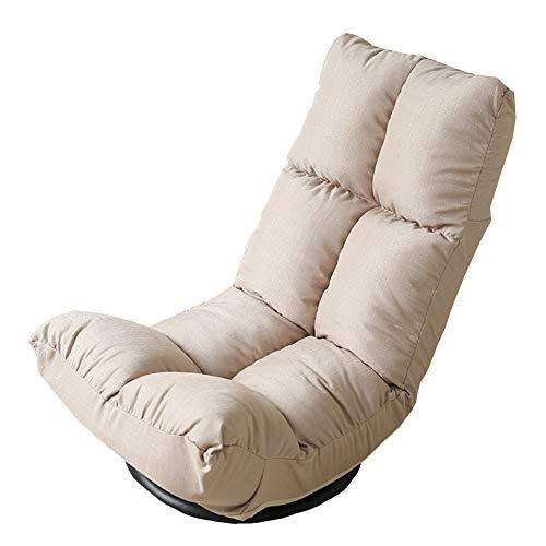Puffs pera Sillón Relajante para Silla Perezosa con sofá Solo Tumbona Plegable, cojín para Silla reclinable para Juegos, Silla ergonómica Ajustable de 6 Posiciones (Color : Beige)