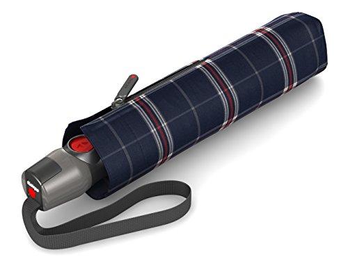 Knirps T.200 Taschenschirm Duomatic CHECK Navy - inkl. Futteral im Schirmdesign - Hochqualitative Verarbeitung - 100% Polyester - Windkanal getestet - kompakt, komfortabel u. zuverlässig -