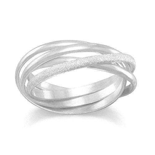 Geschliffen und poliert und Stardust Multiband Ring Stardust Sterling-Silber 925 Trinity-Ring Größe L 1/2