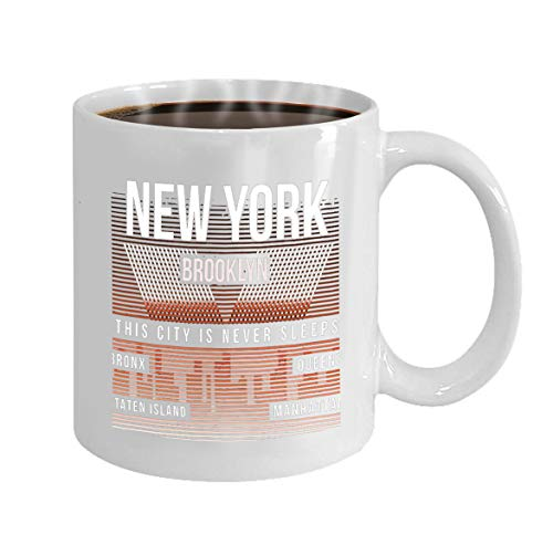 rthday, Anniversary, Customized Celebrating Gift White Tee Cup 11oz new york city brooklyn typography print silhouette ()