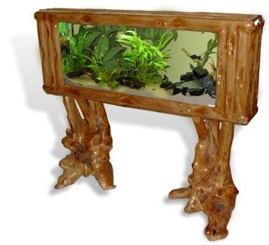 Aquarium-Trennwand Big Floor-160 natur Holz Standaquarium