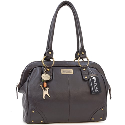 "Borsa in pelle modello dottore - borsa da spalla di Catwalk Collection ""Doctor"" Marrone Scuro"