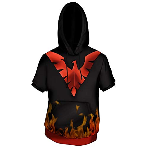 SDKHIN X-Men Age of Apocalypse Phoenix T-Shirt für Herren Cosplay Anime 3D Bedruckter Kurzarm-Kapuzenpullover,Black-L