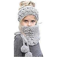 WANZIJING Crochet Winter Hat 2 In1 Bufanda De Lana con Capucha Tejer Gorros Calentador Conjunto Regalos De Fiesta Niñas Niños