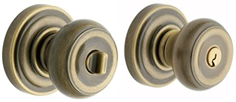 Baldwin 5210.050.ENTR Colonial Knob Keyed Entry Set, Satin Brass and
