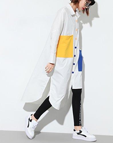 ELLAZHU Damen Locker Button-Down Irregulärer Unterer Saum Langarmshirts GY1225 Weiß