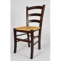 Set de 6 Sillas de cocina, comedor, bar y restaurante, con estructura en madera color nuez, con asiento en paja. Set Venezia by Tommychairs, sillas de design