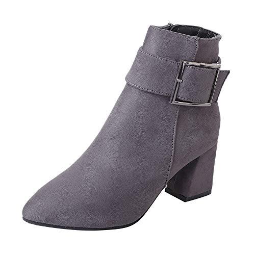 Stiefel Damen, LANSKIRT Frauen Stiefeletten Lässige Schuhe Mode Wildlederstiefel Hoher Absatz Schnallenstiefel Freizeitschuhe Stiefel