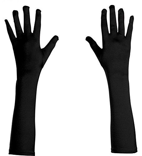 (Unterdrückt Elegante Satin-Abendhandschuhe lang glänzend Damen-Handschuhe Kostümzubehör Karneval Oper Cabaret Show Girl Flapper, Farbe: Schwarz)
