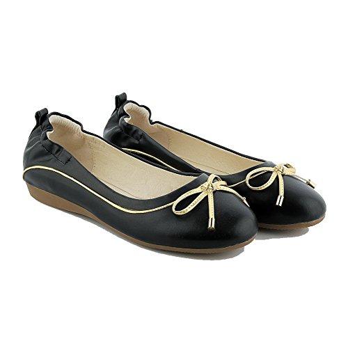 AgooLar Femme Matière Souple Rond à Talon Bas Tire Couleur Unie Chaussures Légeres Noir