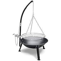 Garten Camping Party BBQ Schwenkgrill mit Handkurbel verstellbar schwarz