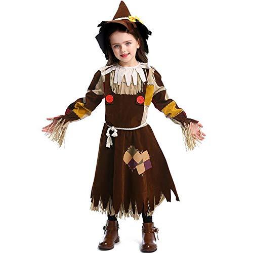 C&NN Der Zauberer von OZ Scarecrow Kleid Weihnachten Ostern Halloween Cosplay Kostüme für Mädchen mit - Scarecrow Kostüm Mädchen
