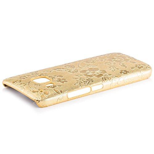HTC One M9 | iCues Chrom Blumen Case Gold | [Display Schutzfolie Inklusive] Floral Damen Frauen Mädchen Strass Glitzer Glitter Luxus Bling Damen Frauen Mädchen Chrome Schutzhülle Hülle Cover Schutz
