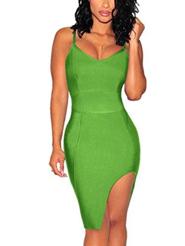 Chez BoBos Femmes Robes Sexy Fendue à Bretelles Courtes Vert