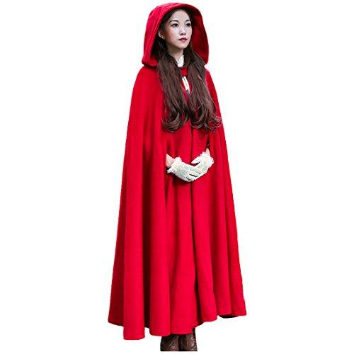Partiss Damen Herbst&Winter Retro Gotisch Loose Umhang mit Kapuze Mantel Poncho Cape Elegant Warm Outwear,One (Superman Rotes Cape)