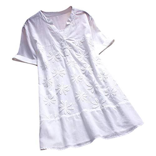 CAOQAO Damen Lässig Plus Größe Vertikal Streifen Lose Leinen Knopf Tunika Hemd (Extra Tall Kostüme)