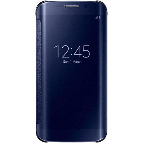 Samsung Handyhülle Schutzhülle Protective Case Cover mit Clear View Klarsicht Cover für Galaxy S6 Edge - Schwarz