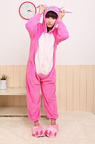 Imagen de adulto unisexo stitch azul stitch rosado onesie fiesta disfraz de kigurumi con capucha pijama sudadera ropa para dormir regalo de navidad stitch rosado, s height 150cm 160cm
