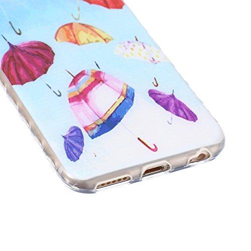 Apple iPhone 6s Silikon Hülle,iPhone 6 Hülle,Ekakashop Ultra dünn Slim Bunt Plum Blume Muster Modisch Durchsichtig Transparent TPU Flexible Gel Crystal Case Bumper Soft Back Cover Etui Tasche Schutzhü bunten Regenschirm