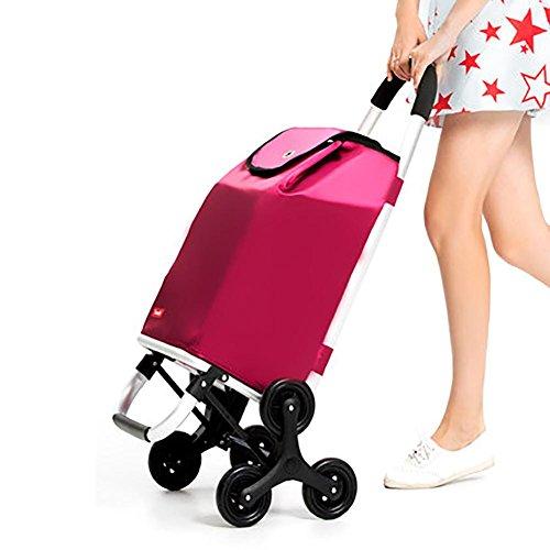 Koffen Trolley Dolly Stepper Rollen Einkaufswagen Multi 6-Rad-Edelstahlrahmen , red