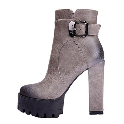 ENMAYER Frauen Leder High Heel Stiefeletten Grau