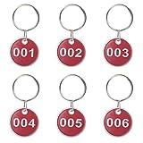 Aluminium Legierung Metall Key Tag Set, Anzahl ID-Tags Kette, nummeriert Key Ringe, 50Stück, rot, 51 to 100