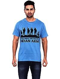 Pagal Desi Men's Cotton Round Neck Half Sleeve Blue T-Shirt