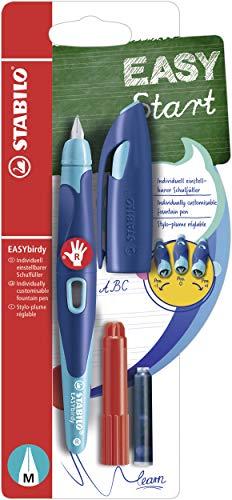 Ergonomischer Schulfüller mit Standard-Feder M - STABILO EASYbirdy in mitternachtsblau/azur - für Rechtshänder - inklusive Patrone und Einstellwerkzeug
