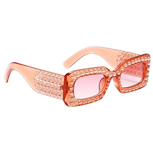 MagiDeal übergroße Quadratische Rahmen Strass Sonnenbrille Lady Fashion Shades - Orange Rahmen Orange Linse