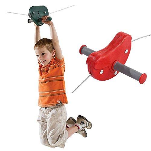 Seilbahn Para für Kinder im Garten Kabelbahn 30 m Farbe rot, TÜV von Gartenpirat® (Flying Fox)