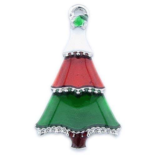 Bacabella Damen Weihnachtsanhänger aus emailliertem Metall Weihnachtsbaum bunt