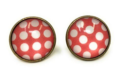 Polka-Dot Ohrringe Peggy Sue Rockabilly Set 50er 60er Jahre Rockn Roll Schmuck (rot/weiß)