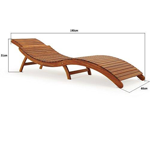 Deuba Sonnenliege | Akazien Holz Faltbar Kofferfunktion Kurvig Ergonomisch | Gartenliege Liegestuhl Akazie Holziege Liege