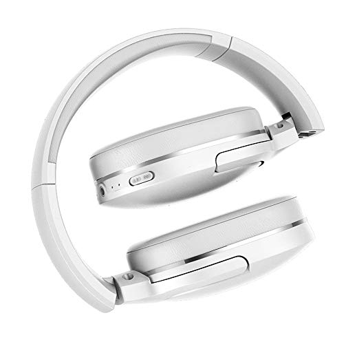 Telefon Wireless Mic (AOEIUV D02 Bluetooth-Kopfhörer, Faltbare 25 Stunden Musik Play Wireless Kopfhörer Portable Bluetooth Earphones mit Mic für Telefon,White)