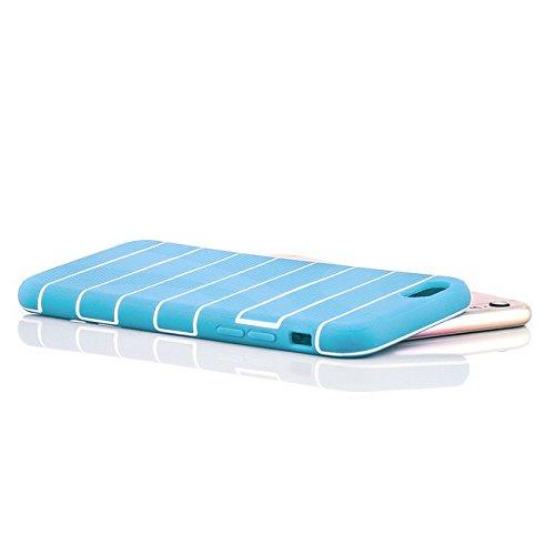 iPhone 6 / 6S Hülle [Saxonia] Weiche Silikon Schutzhülle TPU Bumper Case Ultra Slim Silikonhülle mit Streifen Rot Blau