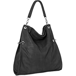 CASPAR TS561 Bolso de Mano para Mujer Bolso de Bandolera en Varios Colores, Color:negro