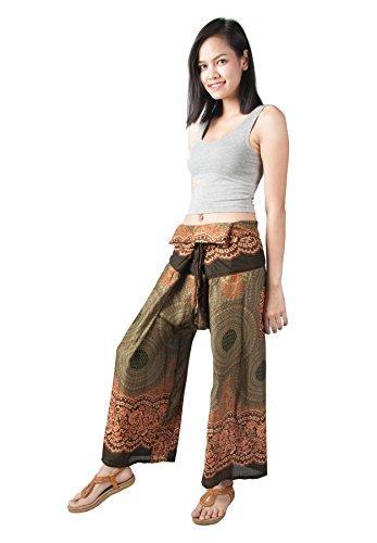 Mujer Lofbaz Pantalones Pescadores Bota Ancha Tailandés Design #1 Verde talla única