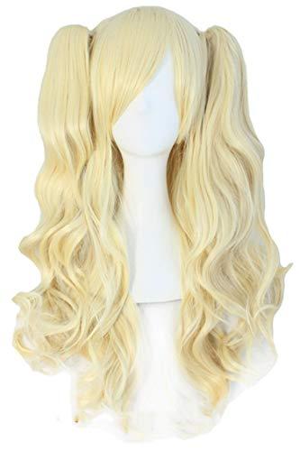 Cosplay Perücken Rosa, Schwarz, Braun, Blau, Weiß 15 Farbe 2 Ponytails Form Hitze synthetisches Haars, Blondine, 28inches (Queen Elizabeth Rote Haare)