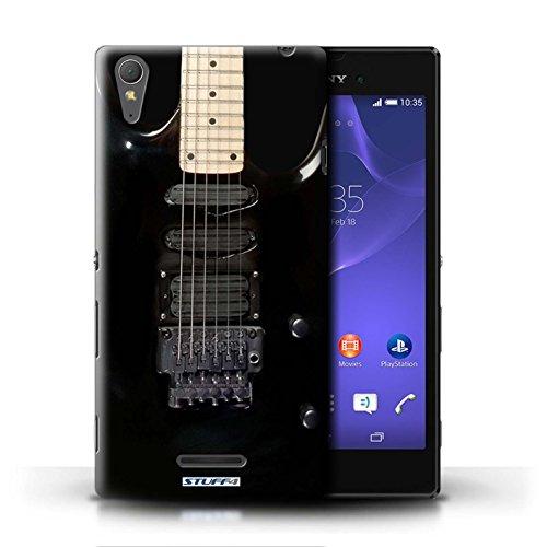 Kobalt® Imprimé Etui / Coque pour Sony Xperia T3 / Sunburst Electrique conception / Série Guitare Noir Electrique