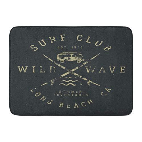 teppiche Matte Surfing Tee in Vintage Gummi Surf Symbole Alte RV Auto Surfbretter und Summer Wild Wave Club Hipster 23,6 (L) x 15,7 (W) Zoll ()