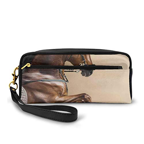 Pencil Case Pen Bag Pouch Stationary,Chestnut Color Horse Jumping In Hackamore Life Force Power Honor Love Sign Print,Small Makeup Bag Coin Purse