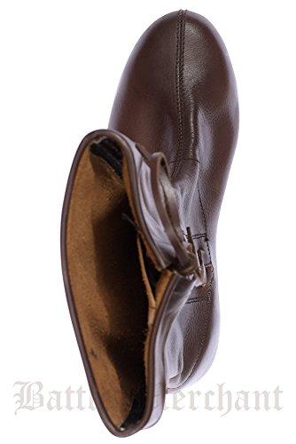 Schnürstiefel longue en cuir-marron foncé-mittelalterstiefel chaussures moyen à utiliser Marron - Marron