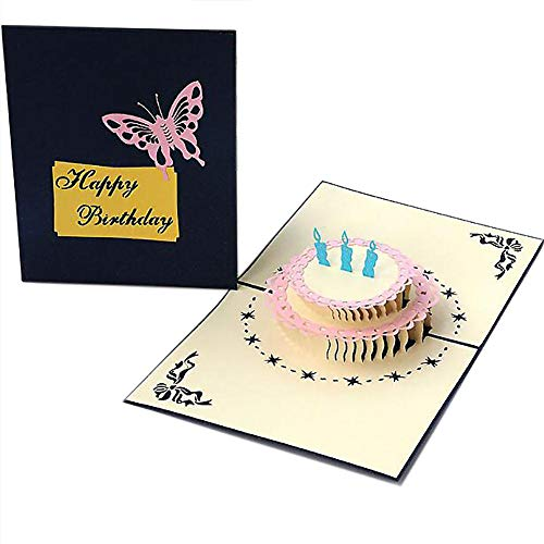 KANKOO Kreative Geburtstagskarte 3D Karte 3D Karte Geburtstag für Geburtstag Hochzeit Geburtstag Danke Baby Dusche Mutter Vater Tag Blue\