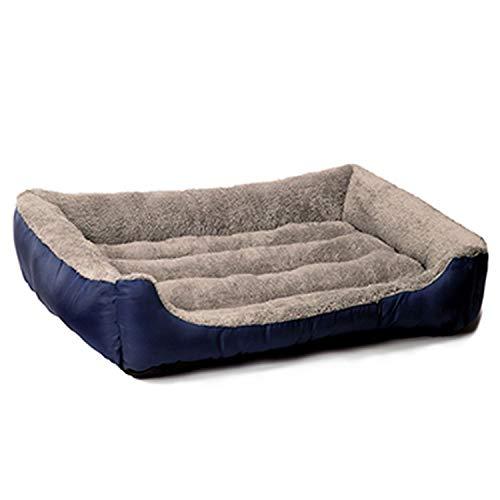 CHUNXU Hundebett, warm, weich, für Katzen, Welpen, Übergröße, Marineblau, XL 80 x 60 x 15 cm