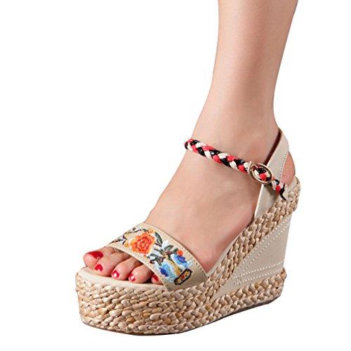 Yuncai donna elegante squisito piattaforma zeppa sandali moda traspirante scarpe da principessa bianco 34