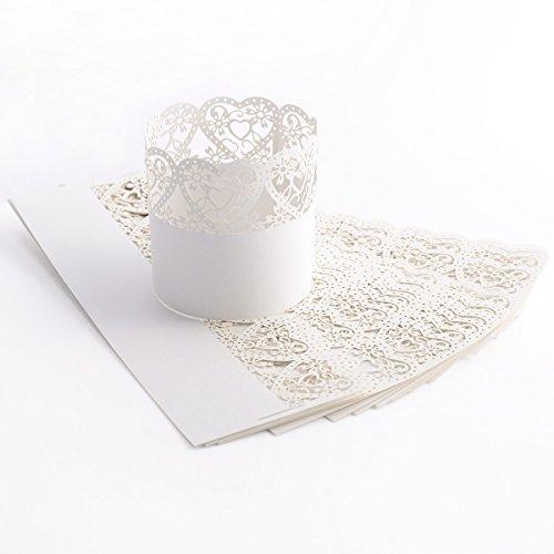 25 x Laser Cut Herz Motiv Papier Wrapper Kerzenhalter Teelichthalter Halter für Teelichter Gartenlicht Windlicht Halter Weihnachten Wohnung Zimmer Deko Tischdeko