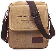 Fashion Shoulder Bag For Men Stylish Brown Canvas Crossbody Bag Korean Style HandBag For Male