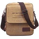 حقيبة كتف تمر بالجسم من القماش بطراز كوري ذو تصميم انيق وعصري للرجال، لون بني