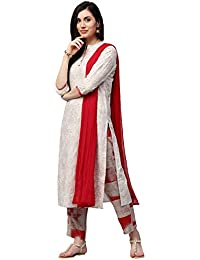 Jaipur Kurti Women Off-White Floral & Gold Print Straight Fit Cotton Kurta With Red Printed Palazzo & Chiffon...
